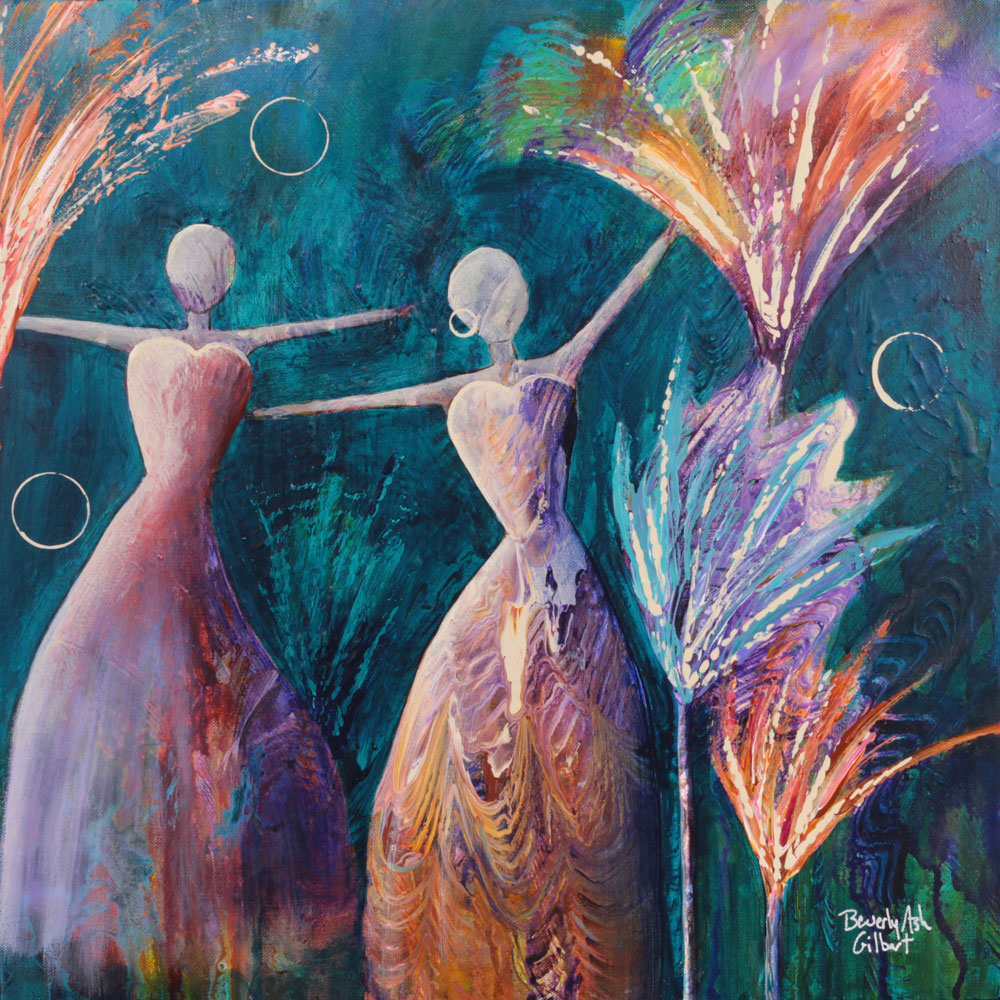 In A Garden Full Of Fireworks - Dance With Color Painting Collection - Beverly Ash Gilbert