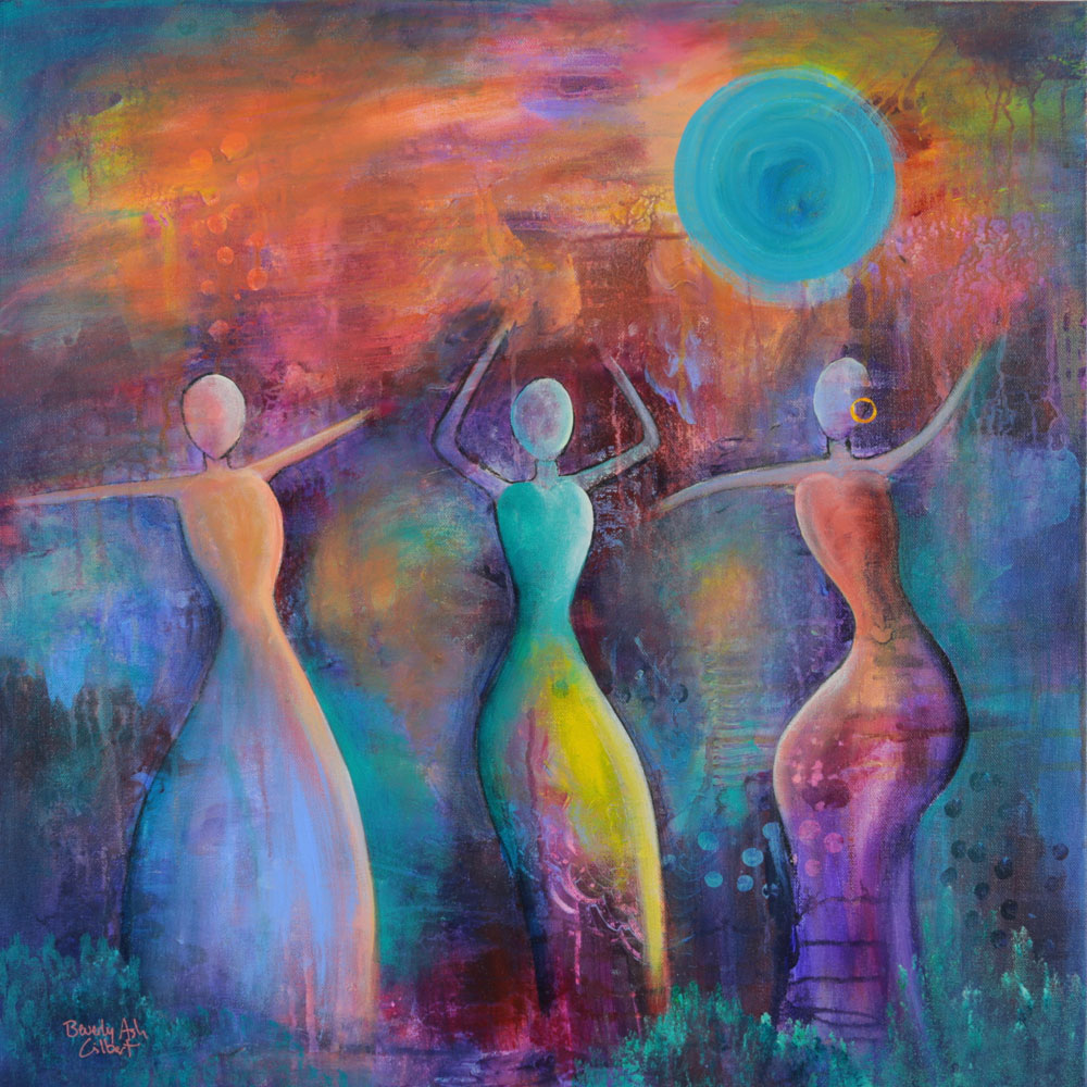 Moon Rises At Sunset - Dance With Color Painting Collection - Beverly Ash Gilbert