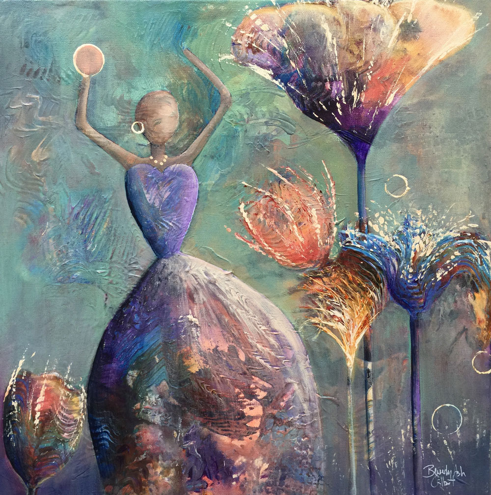 She Throws Seeds To The Wind - Dance With Color Painting Collection - Beverly Ash Gilbert