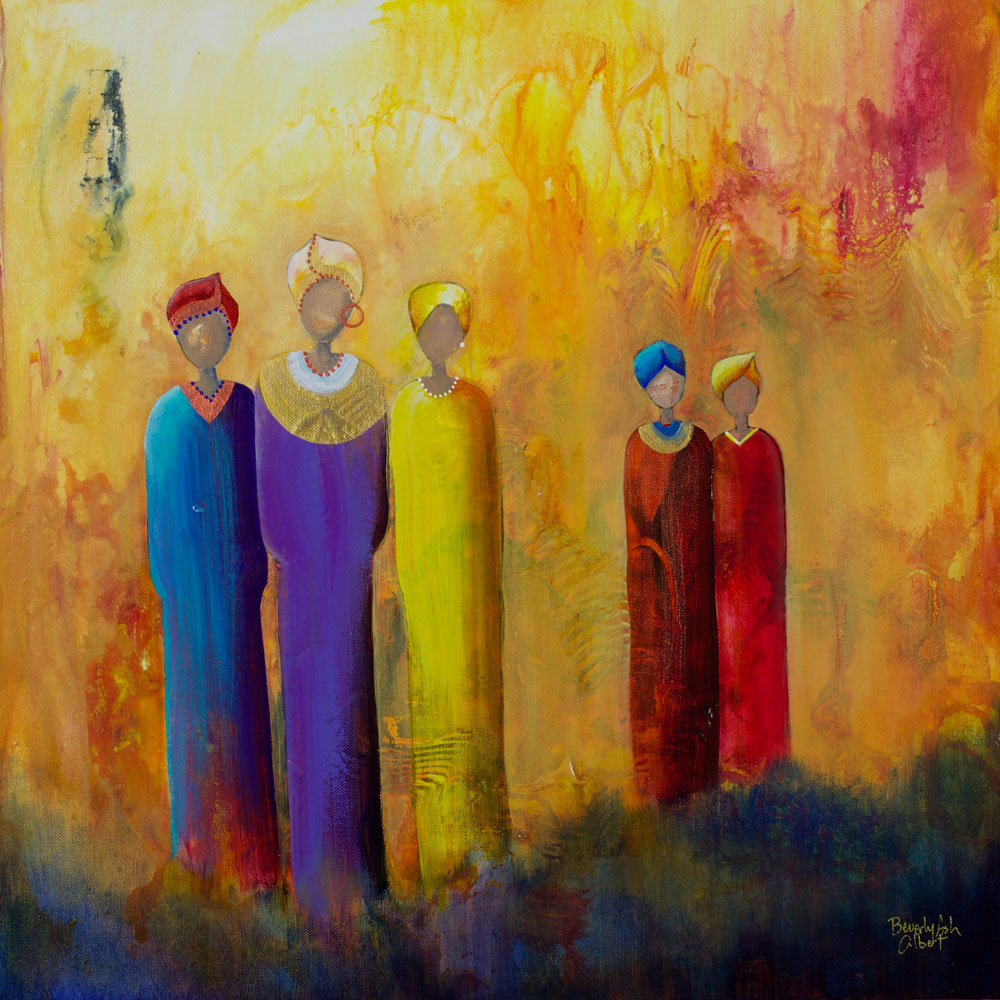 Sun Worshipers - It Takes A Village Painting Collection - Beverly Ash Gilbert