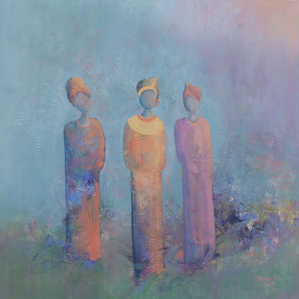 They Gather Under A Lavender Sky - It Takes A Village Painting Collection - Beverly Ash Gilbert