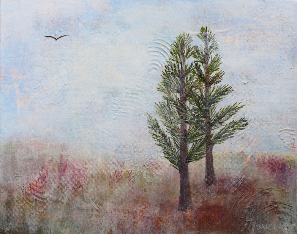 Pines In The Autumn Mist - Dreamy Landscapes Painting Collection - Beverly Ash Gilbert
