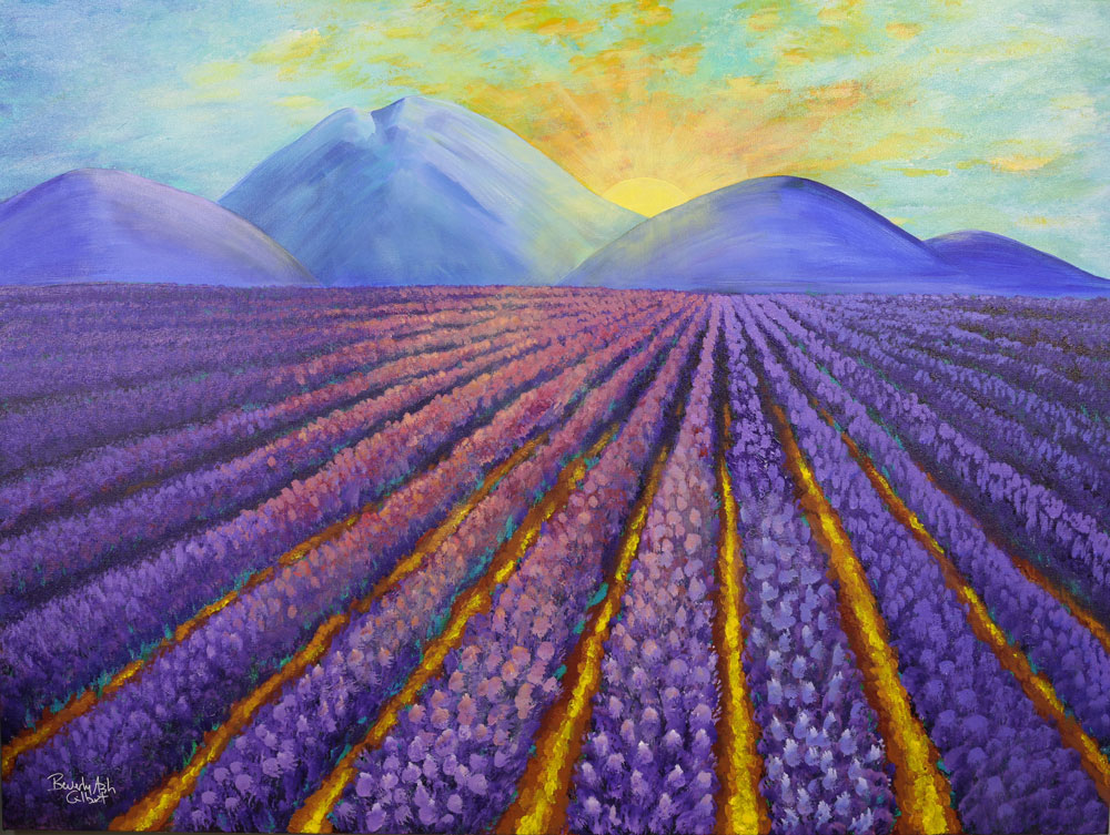 Sunrise In The Lavender Field - Dreamy Landscapes Painting Collection - Beverly Ash Gilbert