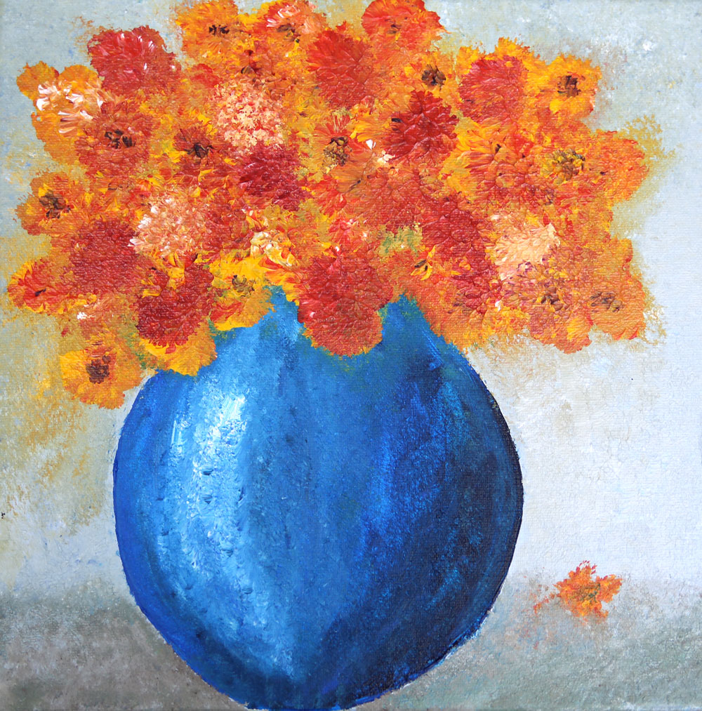 Mums In A Blue Vase - Blooms Painting Collection - Beverly Ash Gilbert