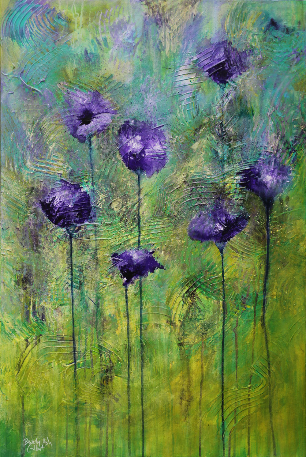 Purple Poppy Field - Blooms Painting Collection - Beverly Ash Gilbert
