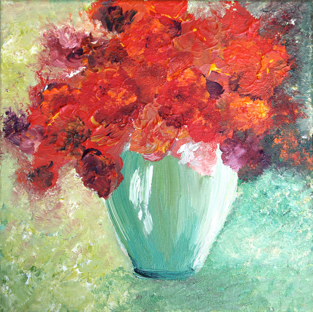 Red Poppies In A Teal Vase - Blooms Painting Collection - Beverly Ash Gilbert