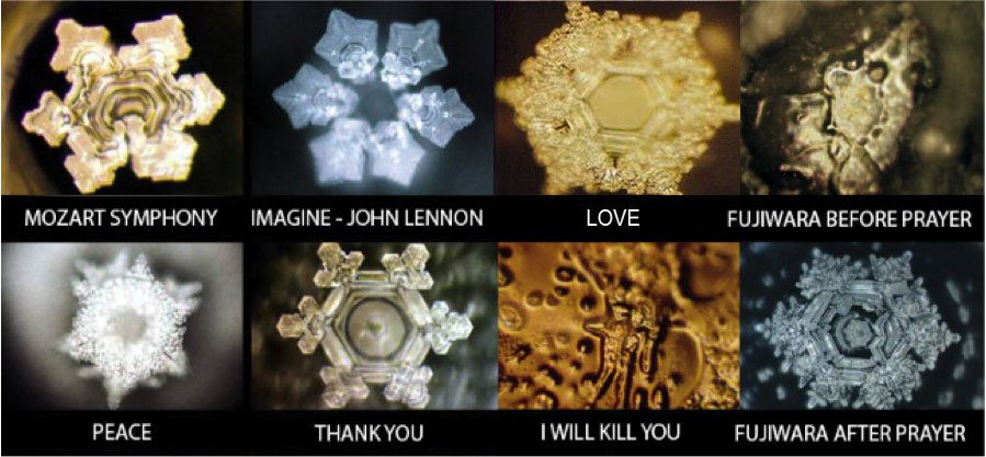 Dr Masaru Emoto's photographs of frozen water molecules exposed to different frequencies of emotion, through meditation, sound and intention. His book,  'The hidden messages in water',  expands on his experiments and findings.
