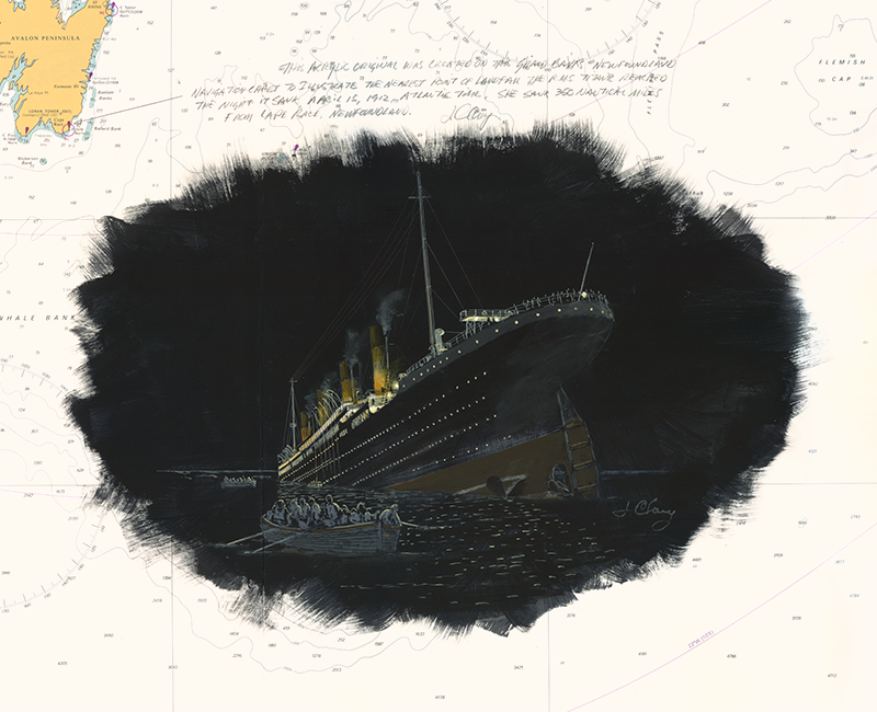 One of maritime artist, Jim Clary's paintings of the Titanic