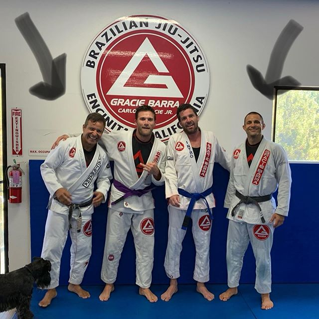 Congrats to these two beasts on their Preformace at Ibjjf Masters World Championships!! @nelsonmonteiroo and Steve Gable thanks for all  the years of training.  Congrats to all of the others who competed this last weekend. Also love that your dog 🐕 made this photo.  Just noticed that as I dug this photo up from my library.  #graciebarra #brazilianjiujitsu