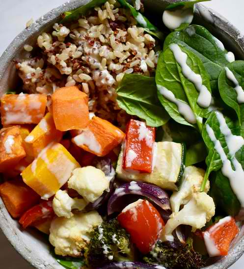 roasted vegetable, rice and quinoa bowls