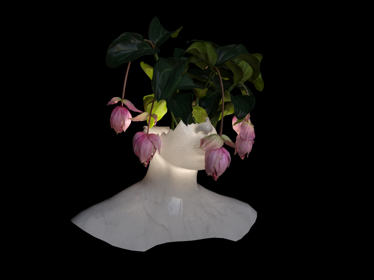 5 - Render Studio, Illuminated Bust with Foliage, (2019) CGI