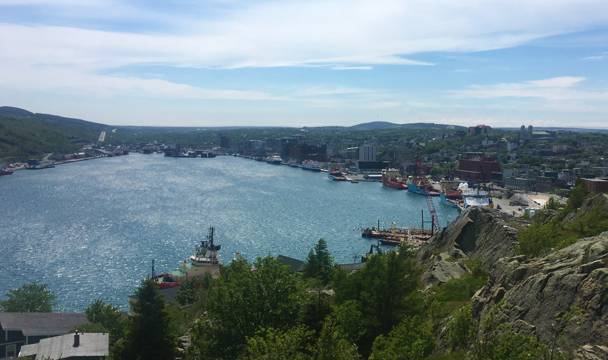 St John's harbour on a sunny day, note the fishing boats to the right.
