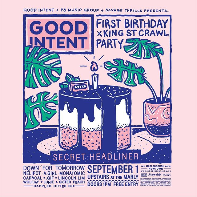 HEY SYDNEY we're making a trip down under!!! 🙊  on this badass lineup 💯 are @downfortomorrow, @nelipottheband, @agirlartist, @monatomic, @wolfjay_, #junie, @sisterpeach_band and of course our buddies from home, @caracalnoise and @lincolnofficially ♥️ we're celebrating @goodintentmusic's first birthday at @kingstreetcrawl @themarlynewtown –– big ups to @savagethrills @psmusicgroup 🔥  more exciting announcements to come~~~ ♪