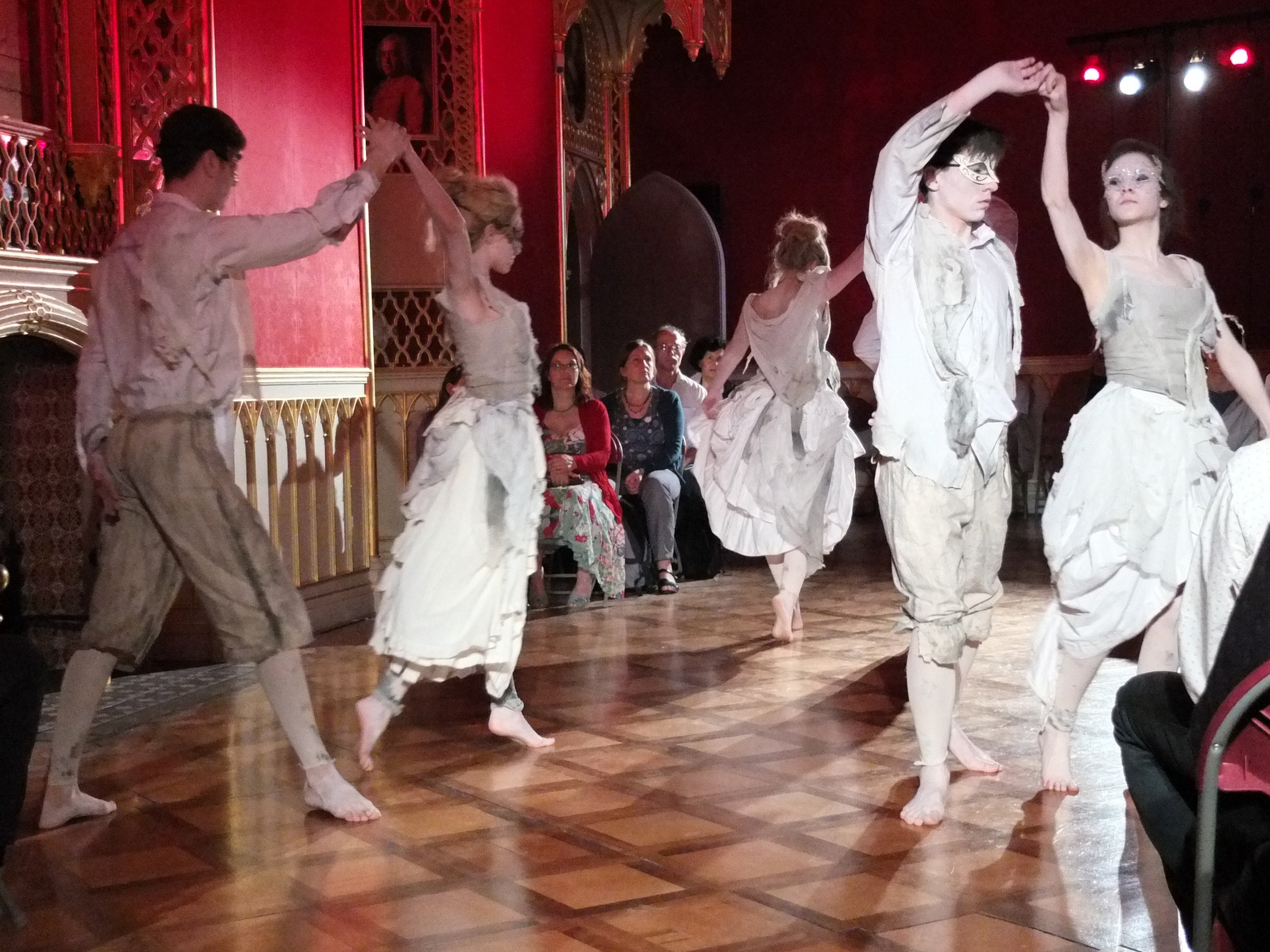"""Dance of the Ghosts in """"Sign of the Strawberry"""", set in the beautiful ballroom of Strawberry Hill House"""