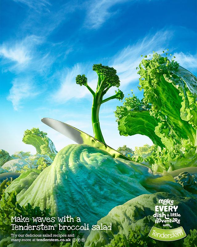 The fourth & final picture from the fabulous @carlwarner5188, food photographer, shows our @tenderstem® hero surfing a lettuce wave as part of the series by McCann Bristol, (@mccannlondon  @mccann_manchester @mccann_paris @mccan_worldgroup_germany @mccann_ww), that won a gold @thefabawards for its Savoury food advertising campaign, in the Press and Print category. Explore more of our Tenderstem® hero's glorious story in images here www.the-bunker.com/portfolio_page/tenderstem/ 4/4.