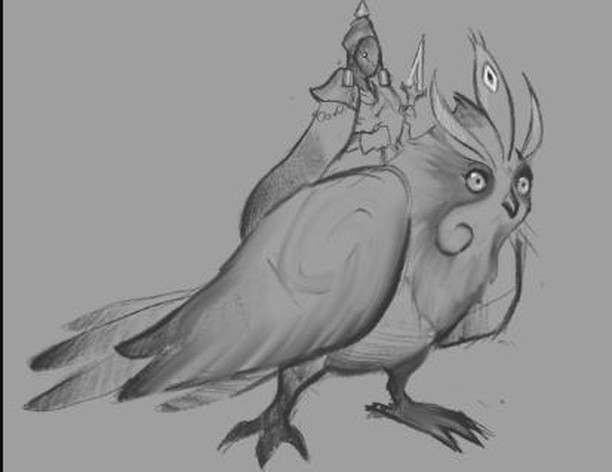 The concept art for yesterday's spooky owl boy! He's going to be a mount, and you'll meet his rider very soon! #gamedev