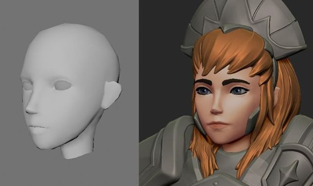 Today our lead artist Steph has been reworking Minerva's head so her animations will look better. Next step is her hair and headpiece, and then texturing and coloring her! What do you think? #indiedev