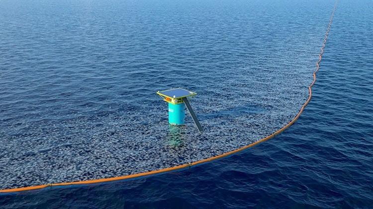 TECH   De Nederlandse Boyan Slat (24) bedacht een manier om bergen plastic troep uit het water te vissen.   Hier zie je hoe het in zijn werk gaat