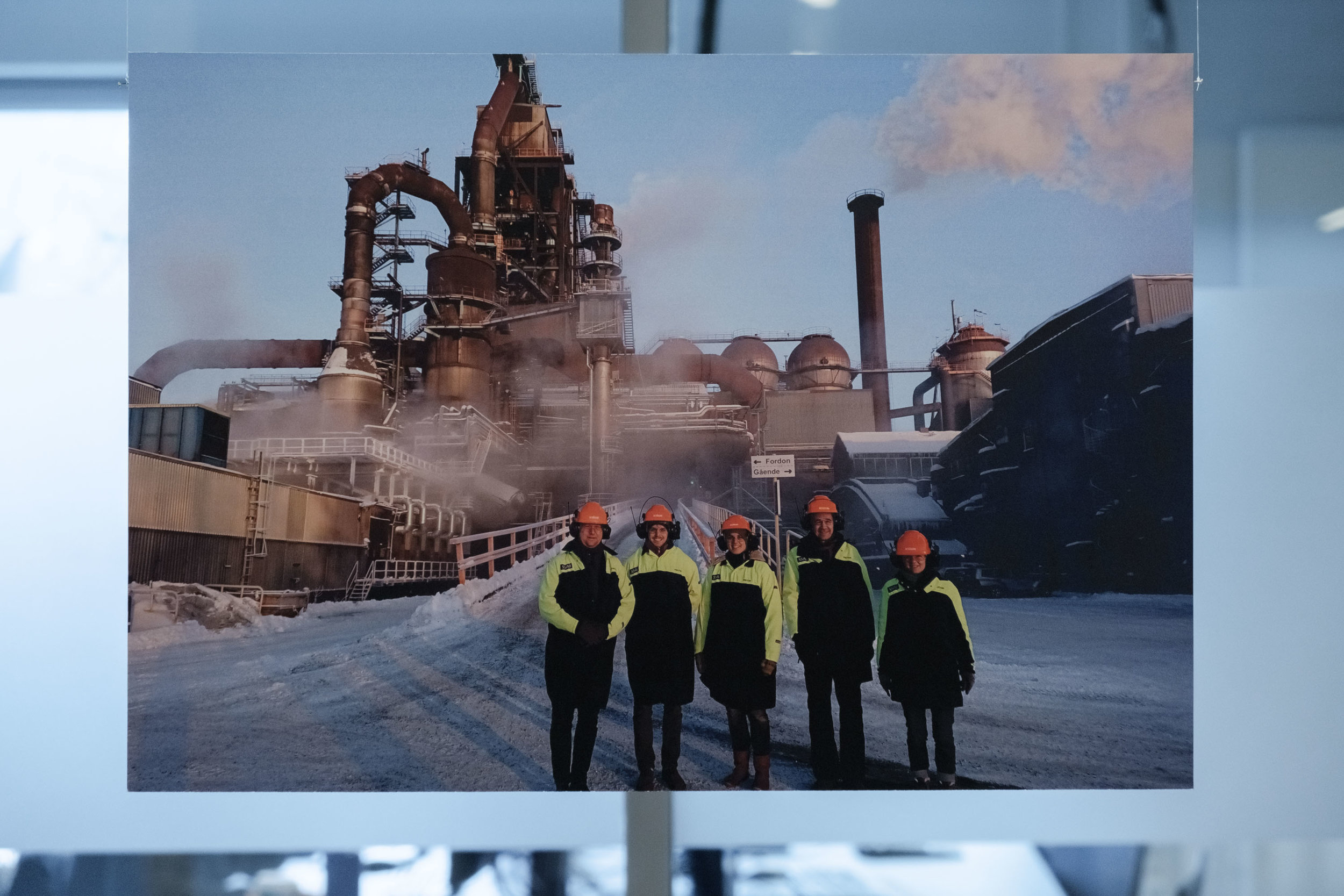 The last Swedish blast furnace, Luleå 2044, photo: private   In 2042 this blast furnace was closed, marking the end of fossil steel production. A team of researchers were visiting to study the dismantling process.