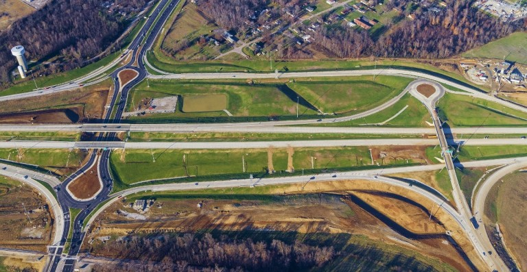 The SR 265/SR 62/Port Road interchange opened to traffic in mid 2015.