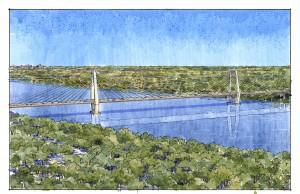 - Illustration of East End Bridge from afar
