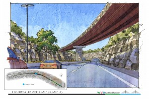 - Approach to tunnel and flyover off ramp to U.S. 42 in Kentucky