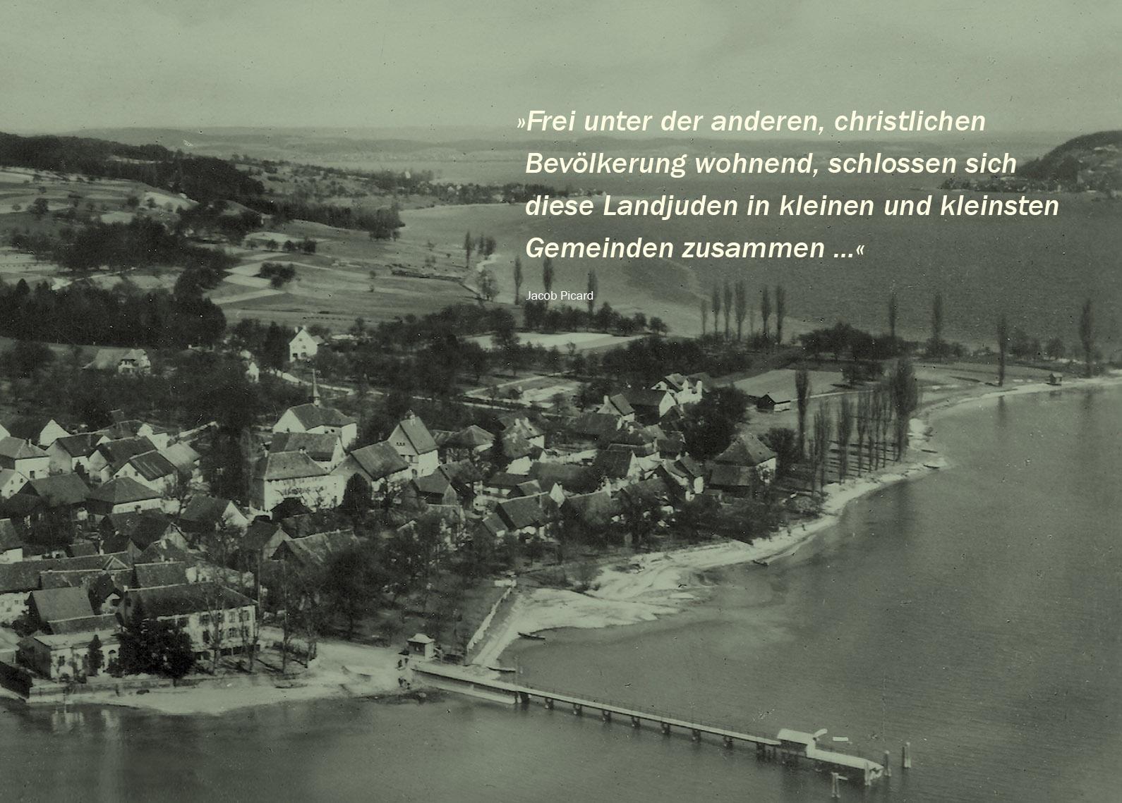 Luftbild vor 1938, die Synagoge ist das Gebäude ganz rechts am Seeufer (Bildrechte. H. Sting, Kunstanstalt Tübingen. Luftbild Nr. 12.6139)