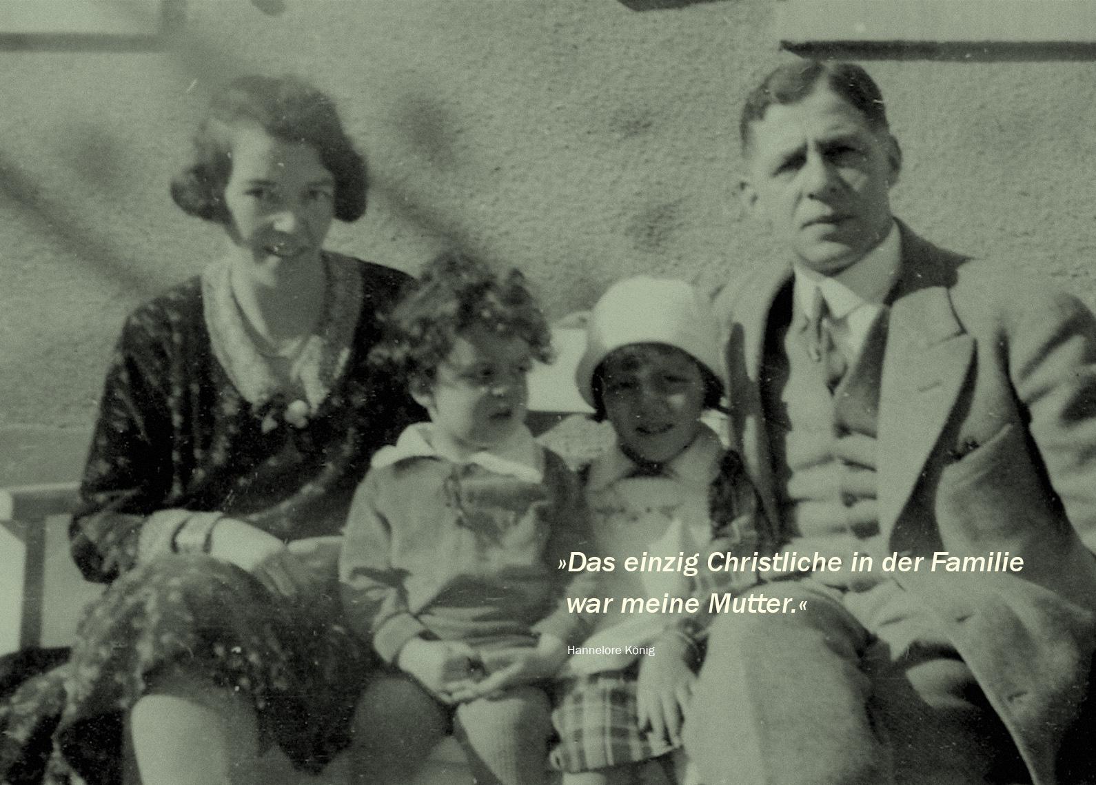 Dies ist das einzige Foto, das die ganze Familie Wolf vereint zeigt.  Auguste, Gert, Hannelore und Nathan Wolf, ca. 1930.