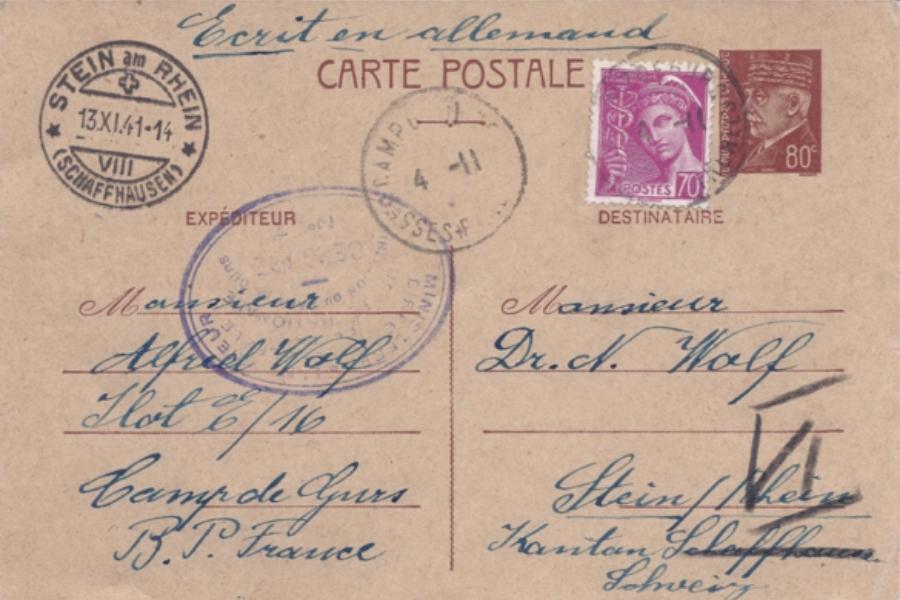 Postkarte von Alfred Wolf an Nathan Wolf, Camp de Gurs, 3. November 1941