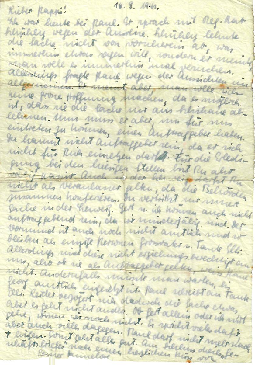 Der Kassiber: Brief von Hannelore an Nathan Wolf; 16. September 1942
