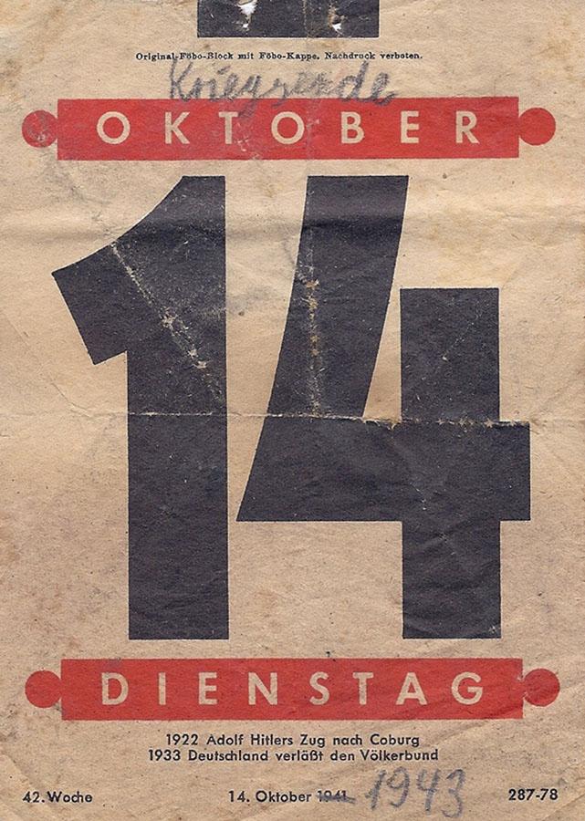 14. Oktober 1943: Hannelore Wolf macht literarische Fingerübungen