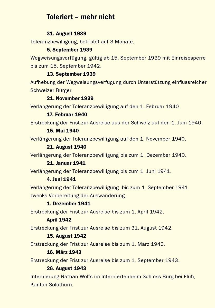 Zusammenstellung der Daten nach der Akte Nathan Wolfs im Staatsarchiv Schaffhausen  [Flüchtlinge B, Wolf, Nathan, Dr. med. 1882]