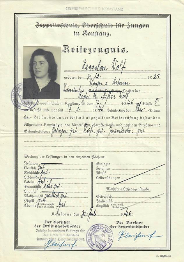 Reifezeugnis von Hannelore Wolf, 31. Juli 1946
