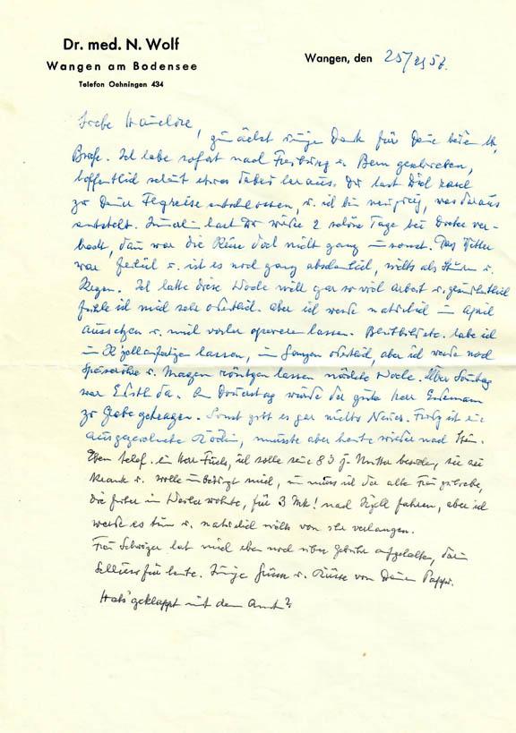 Brief Nathan Wolfs an seine Tochter Hannelore, 25.2.1957