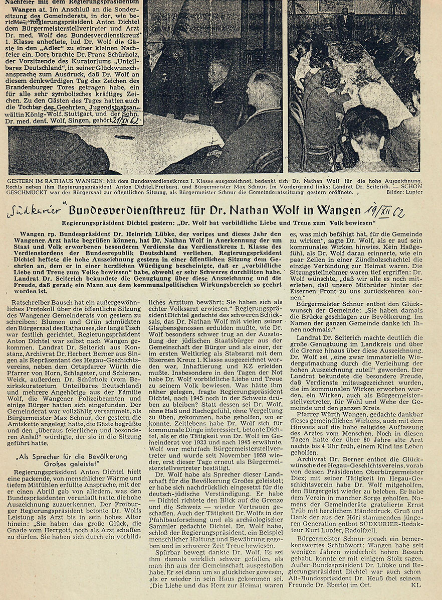 Am 19. Dezember 1962 berichtet der Südkurier aus Wangen
