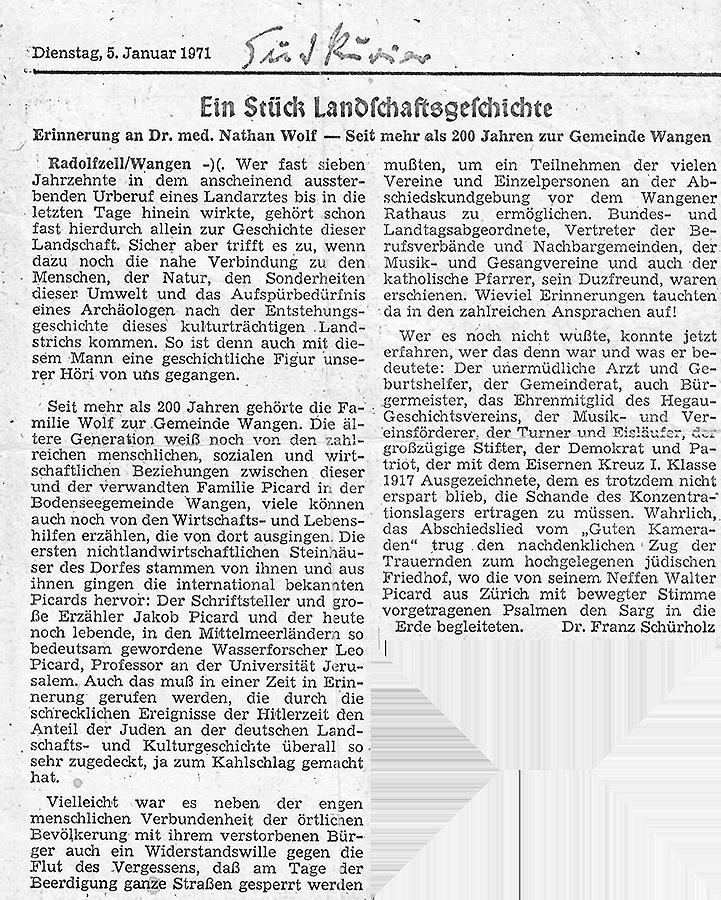 Nachruf auf Nathan Wolf im Südkurier, 5. Januar 1971