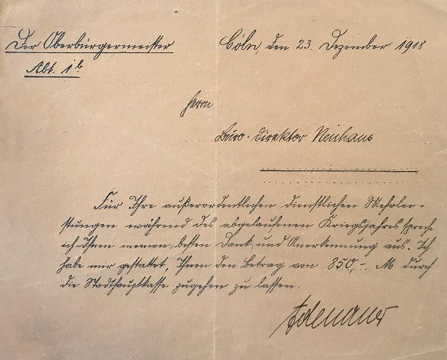 Dankesschreiben des Kölner Oberbürgermeisters Konrad Adenauer an Gustav Neuhaus vom 23. Dezember 1918