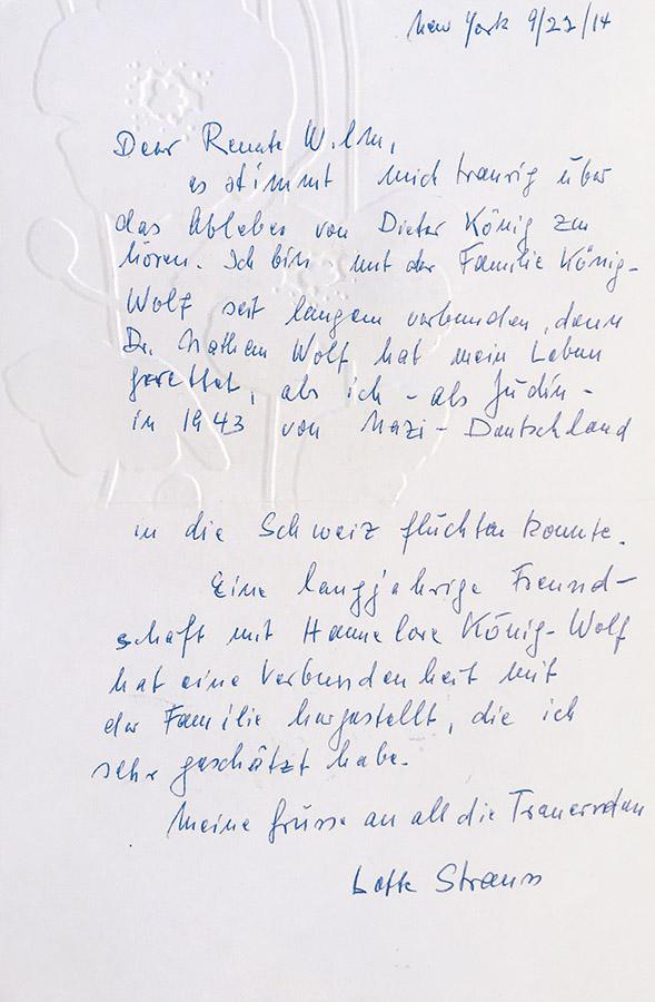 Trauerkarte von Lotte Strauss zum Tod von Dieter König, 2014