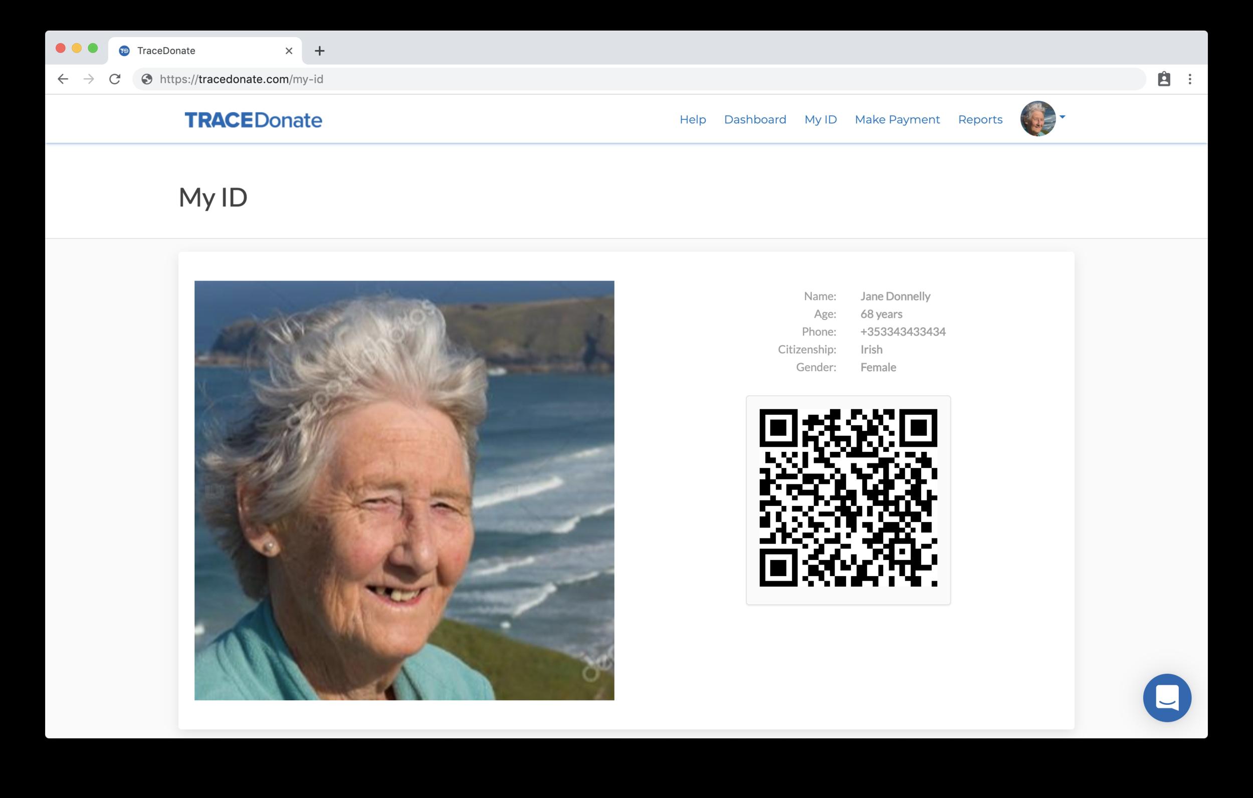 A sample AID:Tech ID on TraceDonate