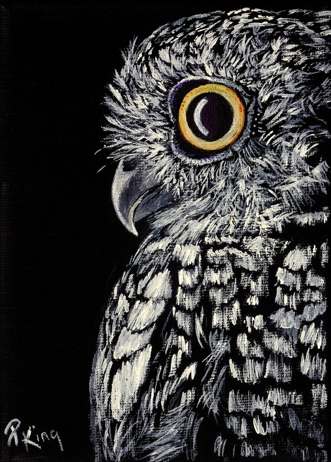 """""""SCREECH OWL"""",  Acrylic on Wrapped Canvas,  5x7x5/8 inches,  SOLD"""