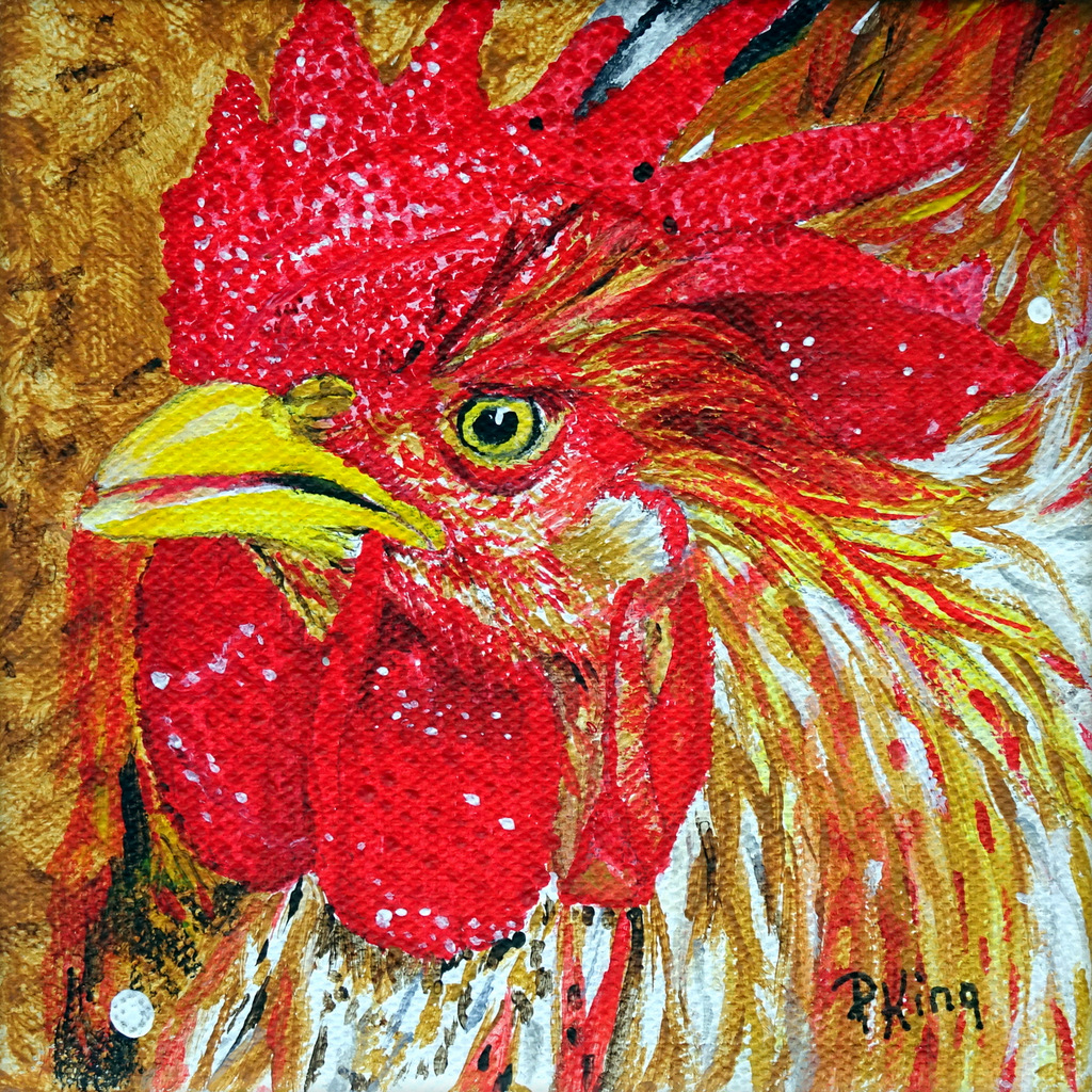 """""""ROOSTER FUN"""",  Acrylic on Wrapped Canvas,  5x5x1.25 inches,  $75"""