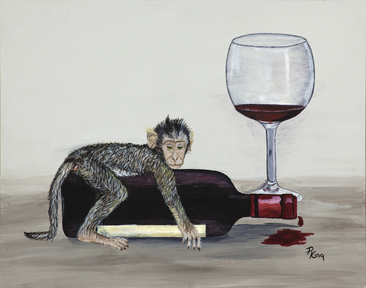 """""""WINE MONKEYS III"""",  Giclee Print on Paper,  8x10 inches $55,  11x14 inches  $75"""