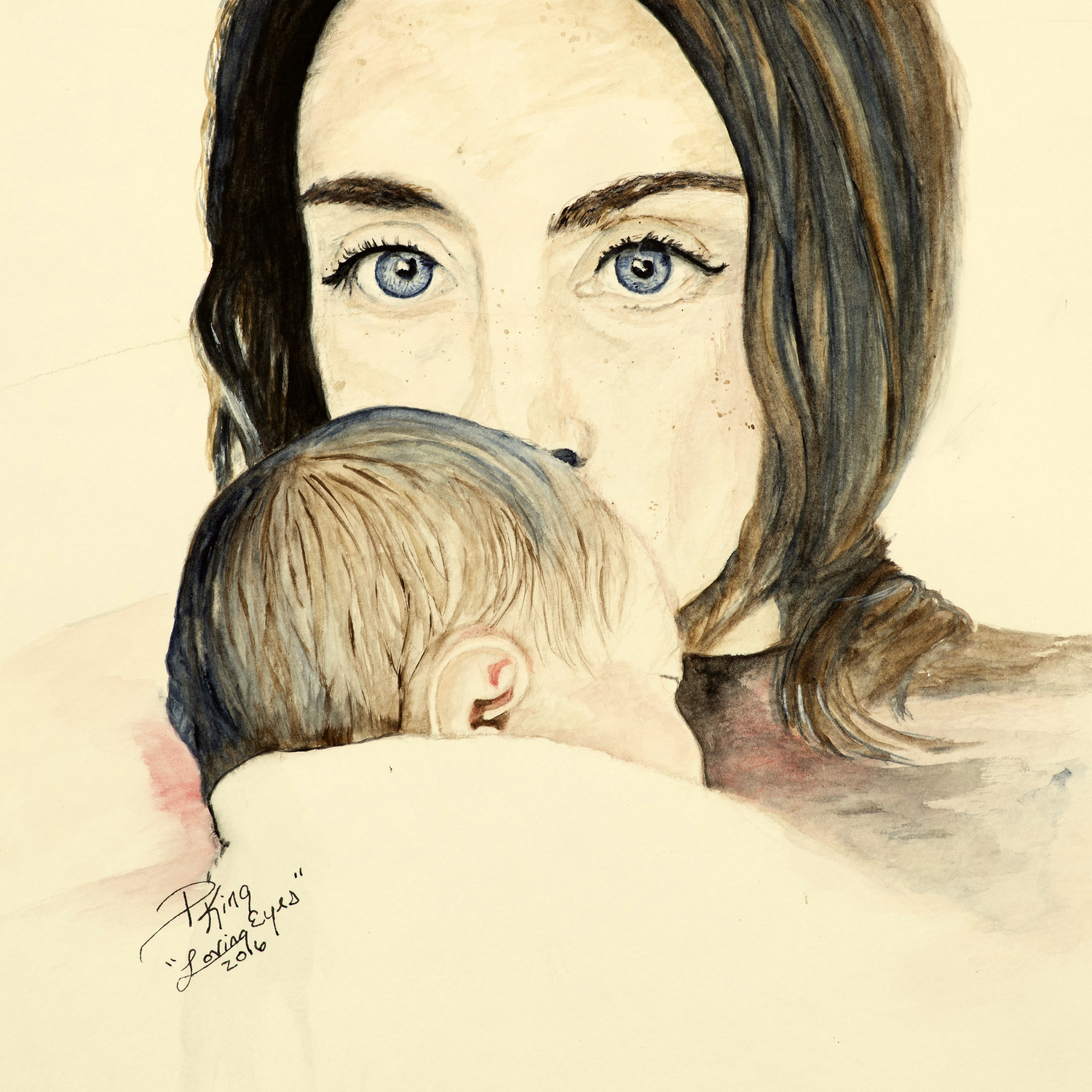 Watercolor Portrait of Mother and Child