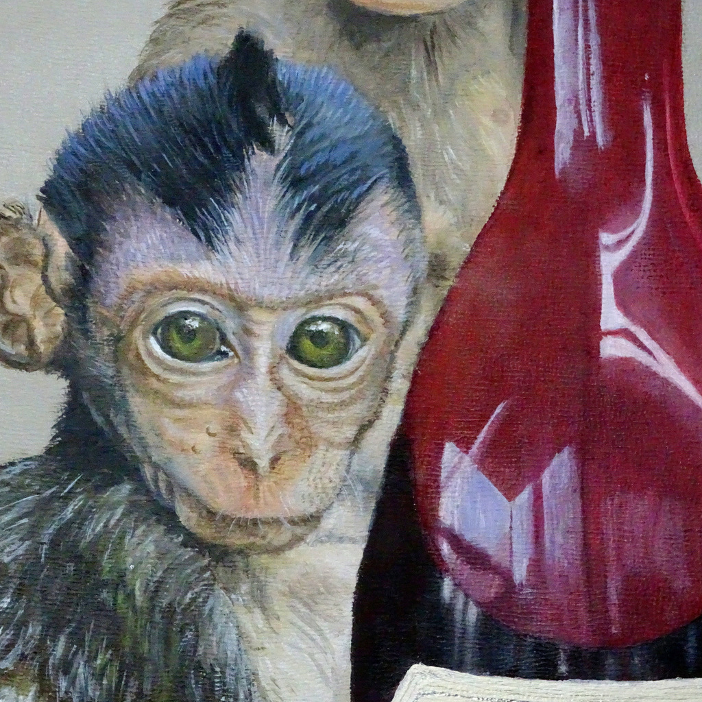 Detail of WINE MONKEYS painting in process
