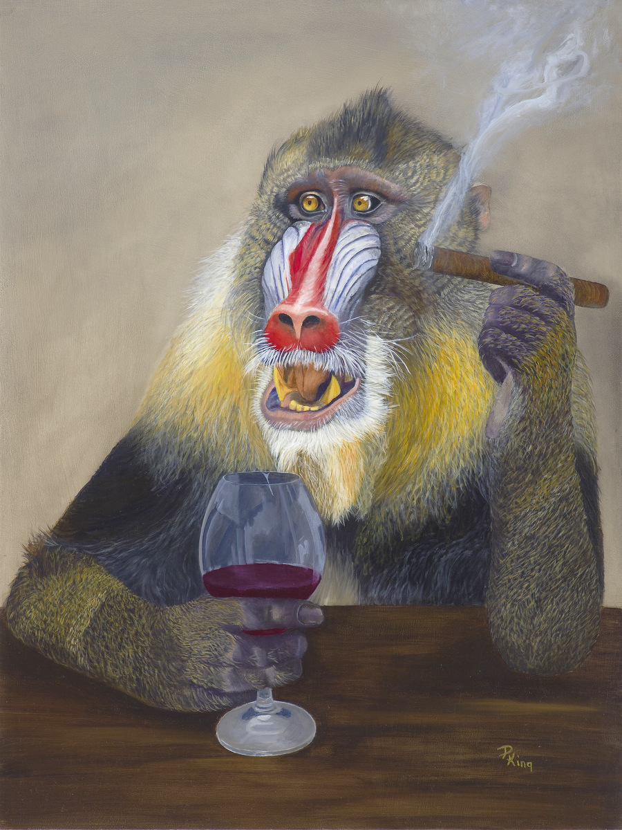 """""""THE MOST INTERESTING MONKEY IN THE WORLD"""",  Oil on Board,  24x18x3/4 inches,  $1,250"""