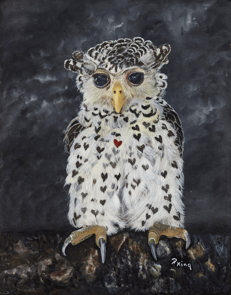 """""""JUVENILE SPOT BELLIED EAGLE OWL"""",  Giclee Print on Paper,  8x10 inches,  $55"""