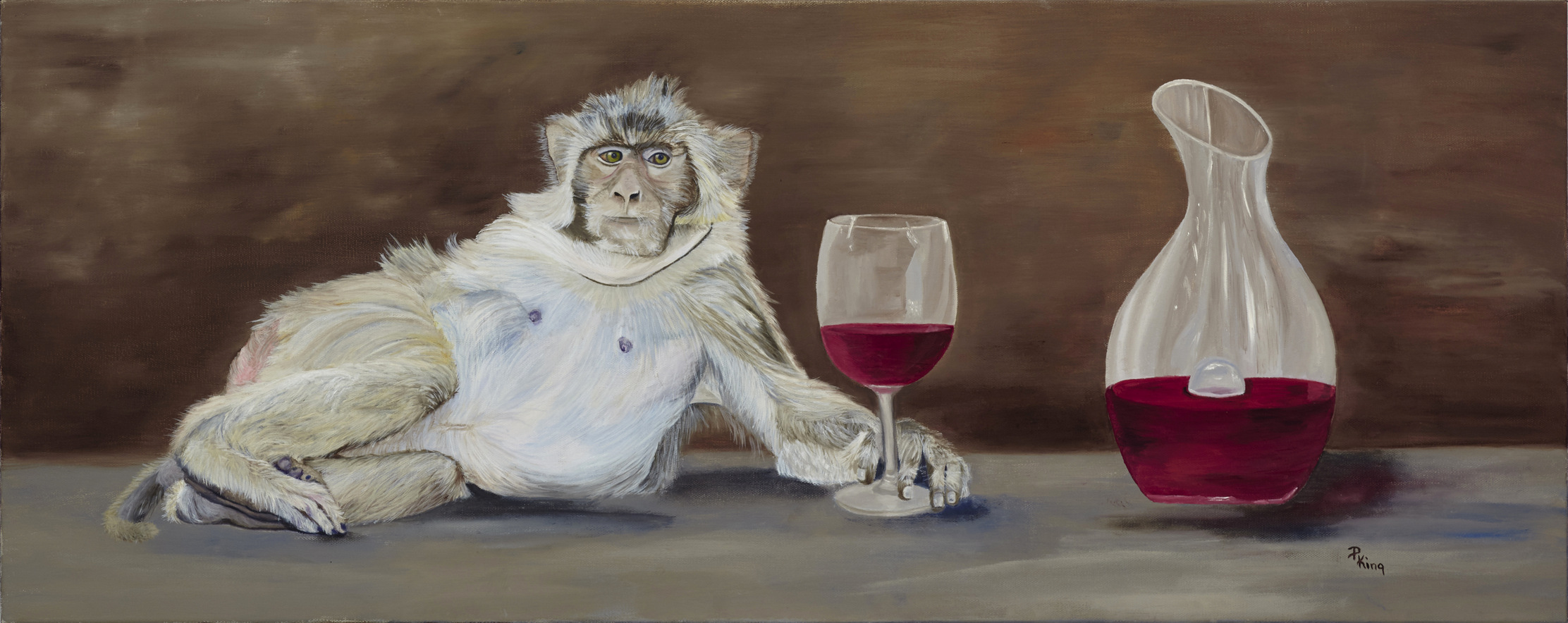 """""""KING OF WINE"""",   Giclee Print on Paper,  8x20 inches  $75"""