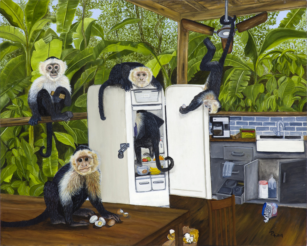 """""""MONKEYS IN THE KITCHEN"""",  Oil on Canvas,  16x20 inches,  SOLD"""