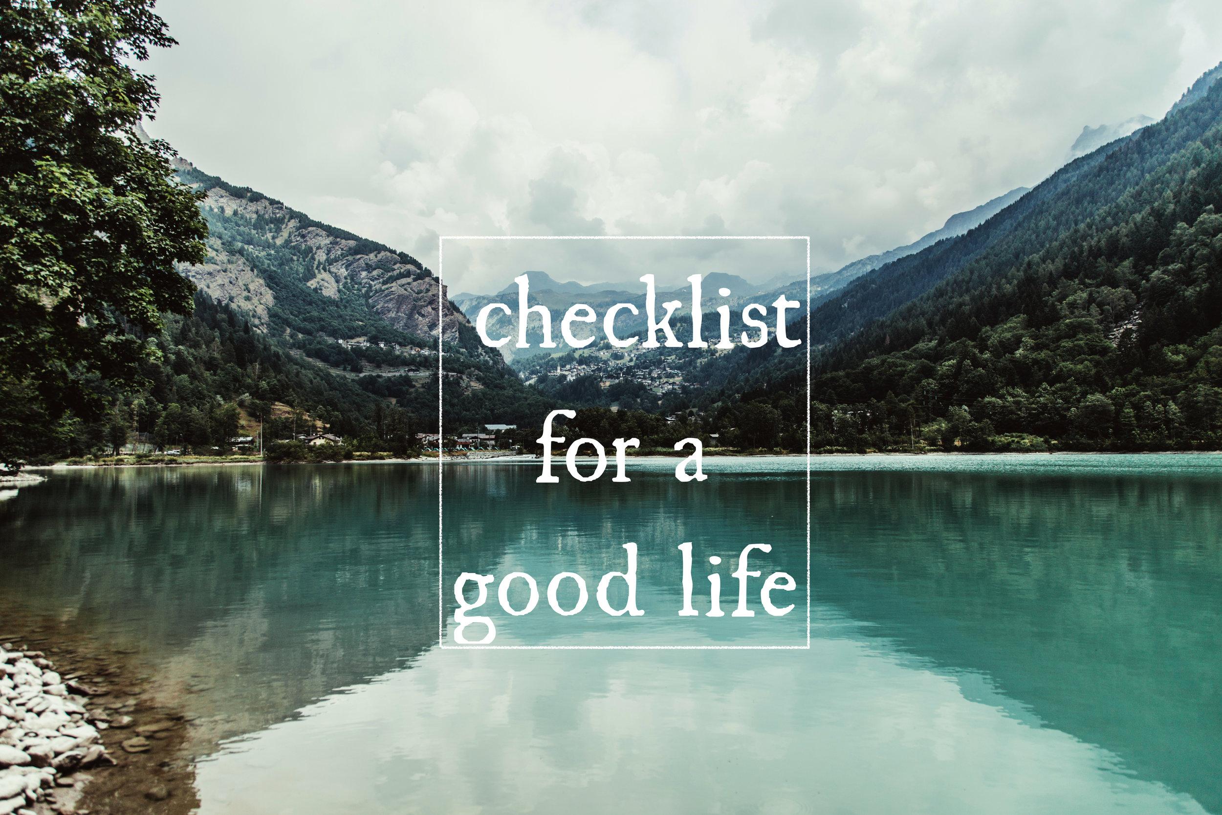 checklist good life