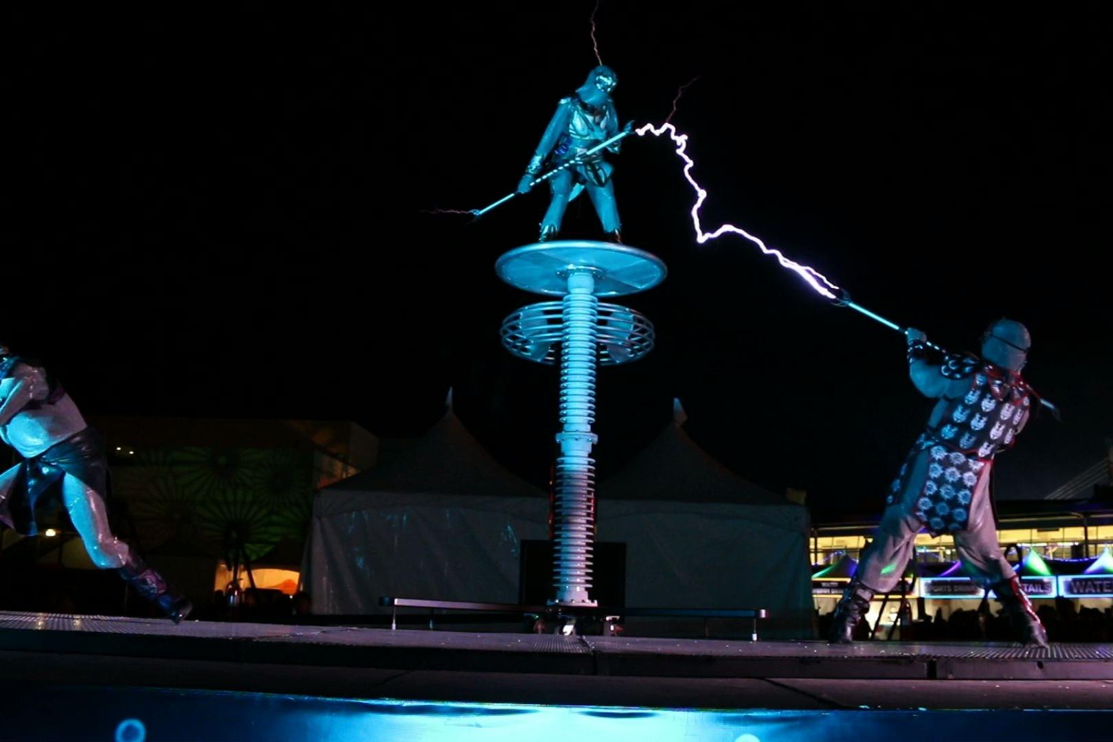 Skyfire arts Edc Vegas lightning dancers Tesla coil